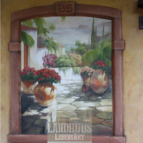Original: Country-LebensArt, BriSch, Mural, Wandbild links im Poolhaus (Acryl auf Ytong-Mauer)