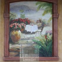 Original: Country-LebensArt, BriSch, Mural, Wandbild rechts im Poolhaus (Acryl auf Ytong-Mauer)