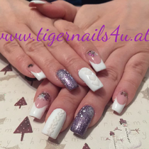 chrome Flakes , stamping, strickeffekt , cover gel builder