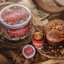 """TRADITIONAL PANETTONE LOW BAKED """"MERRY XMAS"""" RED TIN (1kg)"""