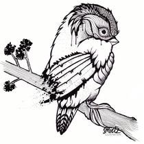 Grafische Illustration von einem Vogel