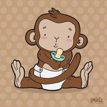 Äffchenillustration für Geburtskarte