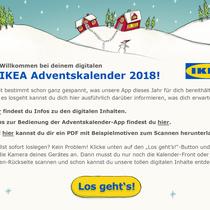 IKEA Adventskalender-App 2018 - Begrüßungs-Screen: Grafik- und UI-Design unter Einhaltung des CI und der  Verwendung bestehender Illustrationen; © IKEA / Oetinger Corporate