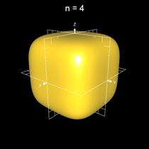 Implizite Fläche x^n+y^n+z^n = 0.5 a mit n=4