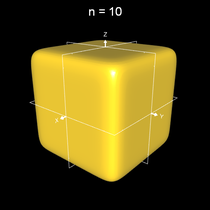 Implizite Fläche x^n+y^n+z^n = 0.5 a mit n=10