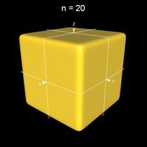 Implizite Fläche x^n+y^n+z^n = 0.5 a mit n=20