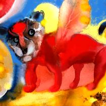 Geflügelter Bärenhund