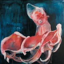 Rosa Krake l Acryl auf Leinwand l 100x100 cm