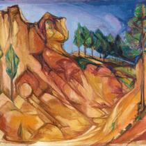 Titel: Roussilion 2, Teknik: Maleri - olie på lærred, Mål: 72,0 cm x 56,0 cm, Fremstillingsår: 1988 / Foto: T.Staupe