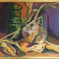 Titel: Majs og glas, Teknik: Olie, Mål: 52,0 cm x 72,0 cm / Foto: T.Staupe