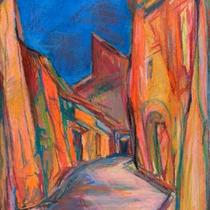 Titel: Rouissilion - Provence, Teknik: Tegning - pastelkridt, Mål: 37,0 cm x 55,0 cm /Foto: T.Staupe