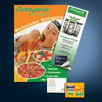 Orangerie: Plakate, Speisekarten, Gutscheine, Außenwerbung etc.
