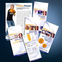 dentaltrade: Flyer, Anzeige, Broschüren, Internetseite