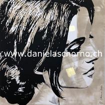 Bild von Daniela Schorno: sinnliche Frau, Seitenansicht 100 x 100