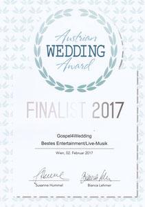 Gospel 4 Wedding Austrian Wedding Award Finalist