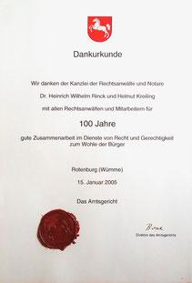 Dank an Rechtsanwalt und Notar in Rotenburg