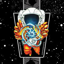xola, art, illustration, cosmic, traveler, skate, skateboard, IFO, astronaut