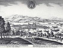 Rapperswil kurz vor 1800 mit Fronleichnamsprozession zu Schiff