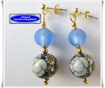 Japanische Tensha Perlen, afrikanische Glasperlen und Edelstein-Ohrringe
