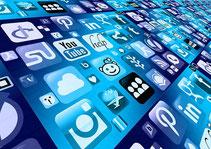 Alignement d'icones de réseaux sociaux