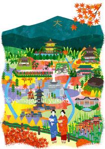 京都の街俯瞰イラスト