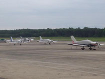 This IS the proper parking arrangement.  Most expensive aircraft in front.  TB9s in back.