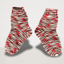 Sockenpaar Strickschmiede, rot-grau, handgefärbtes Garn, handgefärbte Wolle