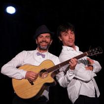 duo de chanson, guitare, humour, bruitages, mime