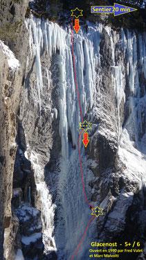Cascade de glace Glacenost topo Glacenost Haute-Maurienne Guide de Haute Montagne