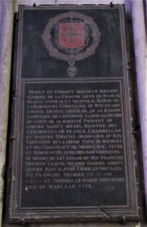 Épitaphe de Gabriel de la Châtre