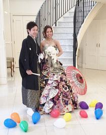 ブライダルエステのお客様の着物の生地でできたドレス