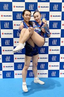 シニア1ミックスペア優勝の河合 翔(ジムナ)と金子実楓