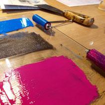 Siebdruck lernen, Linolschnitt, Monotypie