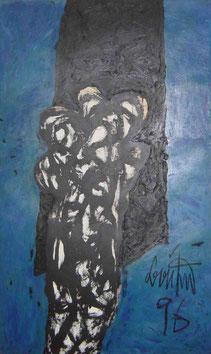 Eduard Bousrd Bangerl, ohne Titel, Mischtechnik /Holz 148 x 96 x 10 cm, 1996