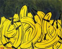 "Thomas Baumgärtel  ""Bananenberg"", Spraylack auf Leinwand,  55x71cm, 1993"