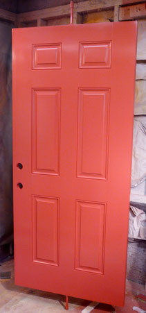 Freshly painted fiberglass door