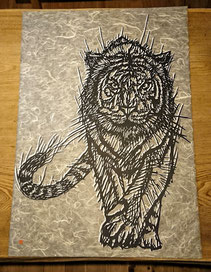 A1サイズの虎の切り絵