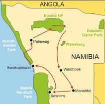 Karte Namibia geführte Reise 12 Tage