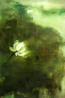 清荷5 GREEN LOTUS 5 150X100CM 布面油画 OIL ON CANVAS 2005 (收藏于伦敦 COLLECTED IN LONDON)