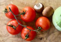 Tomate, Tomaten, Kohlrabi, Pilze, Champignons