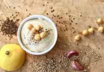 Hummus, Kichererbsen, Knoblauch, Zitrone, Kümmel, Kreuzkümmel, Sesam