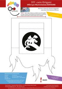 Aperçu page 4 du DIY pas à pas gratuit de l'illustratrice Cloé Perrotin pour créer une carte Kirigami dragon