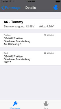GPS Ortung Transporter mit iPhone APP