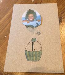 Geburtstagskarte zum 1. Geburtstag, hinten beschriftbar für Erinnerungen vom 1. Lebenjahr