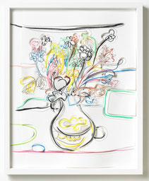 MARION EICHMANN, Blumen III,  2018, Grafitstift, Ölpastell, Buntstift, Papier, gerahmt, 50 x 40 cm, € 2700,--