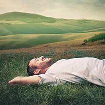 Ein Mann liegt entspannt in der Wiese.