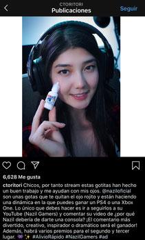 Publicación en la cuenta de Tori en Instagram en donde participa comercialmente con el medicamento Nazil