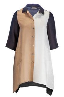 Blusenhemd lang aus Leinen/Tencel