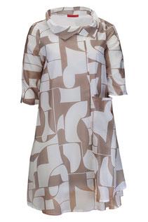 Langes Sommerkleid mit kleinem Kragen in beige/weißem Stoffdesign