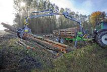 Forstanhänger und Forstkran
